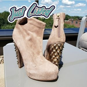 brian atwood suede leather beige booties